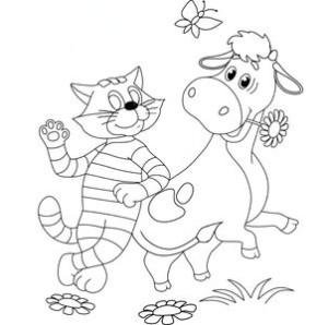 Кот и корова